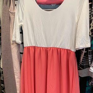NWT Maternity Coral & Cream Maxi Dress